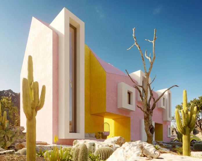 Изображение розово-желтого дома с кактусами и белыми окнами.
