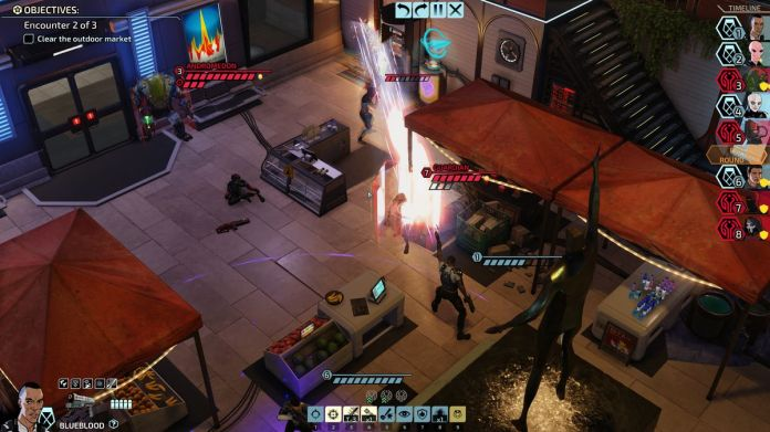 An XCOM soldier named Blueblood, an expert in dual-wielding powerful pistols, takes aim at two high-powered enemies with a single blast.