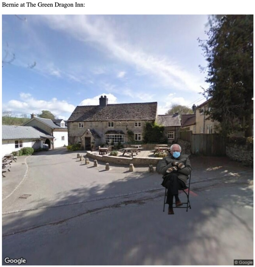 Image of Bernie sitting at the Green Dragon Inn in Hobbiton from Lord of the Rings