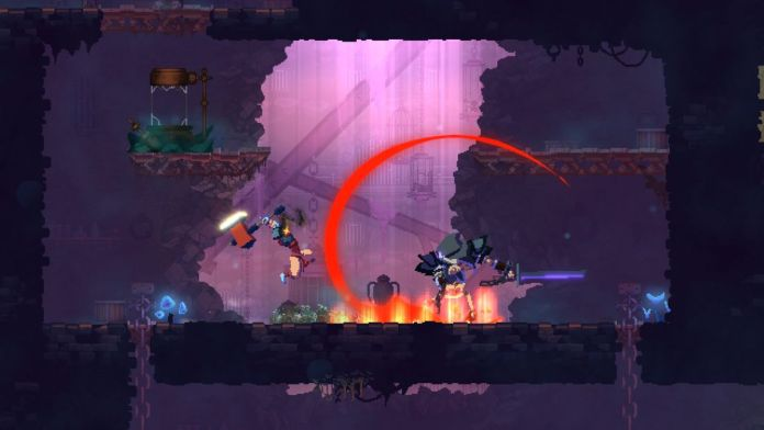 Dead Cells - leaping with a hammer