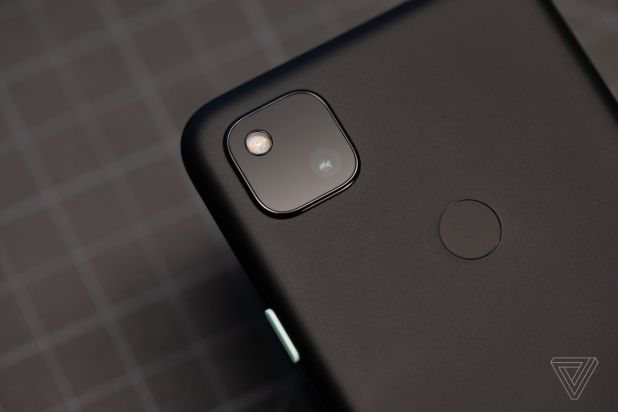 Android: The Google Pixel 4A camera module with a single 12-megapixel sensor.