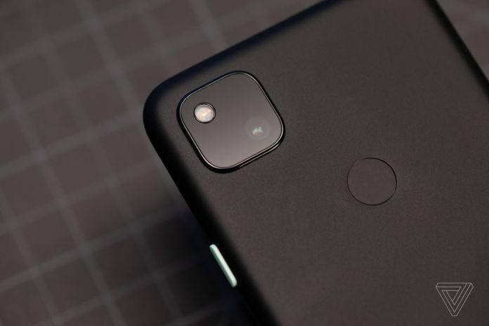 The Google Pixel 4A camera module with a single 12-megapixel sensor.