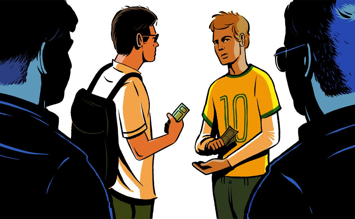 Illustration of two men exchanging money for tickets as two officers flank them from both sides.