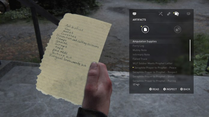 The Last of Us Part 2 Seattle Day 2 Abby The Shortcut Amputation Supplies List Artifact