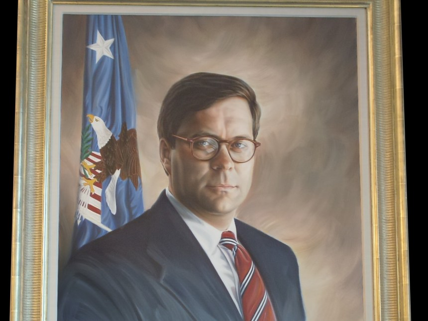 An official portrait of William Barr by William Alan Shirley.
