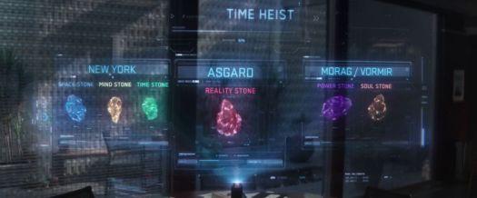 Infinity Stones time heist graphic in Avengers: Endgame