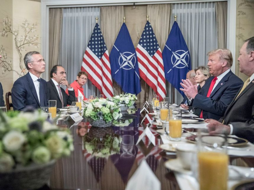 "President Donald Trump said Germany was ""captive"" to Russia and that NATO allies needed to spend more on defense in a July 11, 2018 breakfast with NATO Secretary General Jens Stoltenberg."