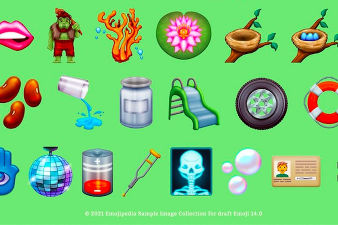 Rows of emojis including biting lip, a troll, coral, lotus flower, bird nests, beans, glass spilling water, slide, tire, ring buoy, hamsa, disco ball, low battery, crutch, X-ray, bubbles, ID card, and heavy equal sign.