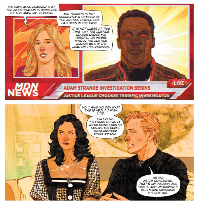 Alanna and Adam Strange on a national talk show say they have no idea why the investigation Adam actually asked for is happening, in Strange Adventures #3, DC Comics (2020).
