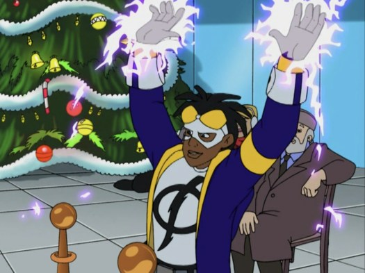 Static raises his electrified hands above his head, preparing to power the lights of a Christmas tree, in Static Shock.