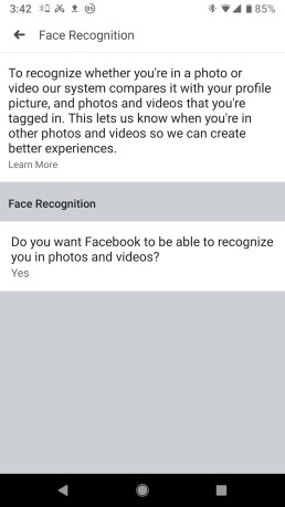 Facebook mobile face recognition