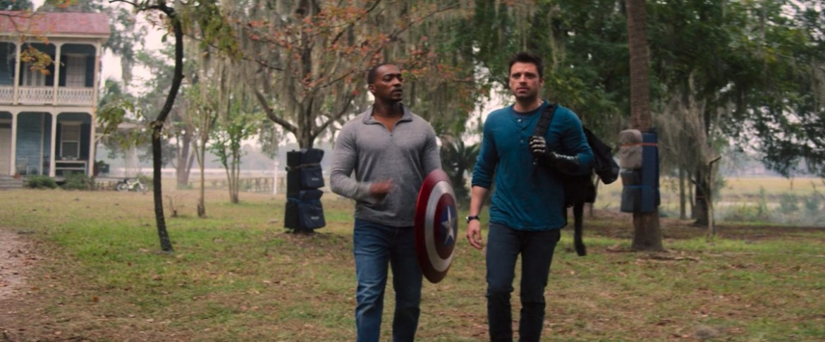 Anthony Mackie and Sebastian Stan, surrounded by padded trees