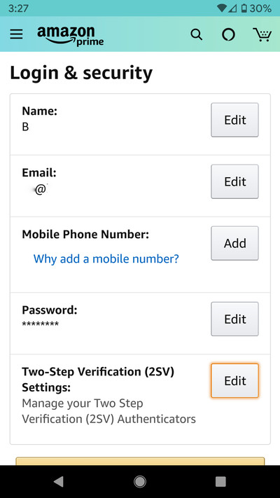 The Amazon app also lets you set up two-step verification.