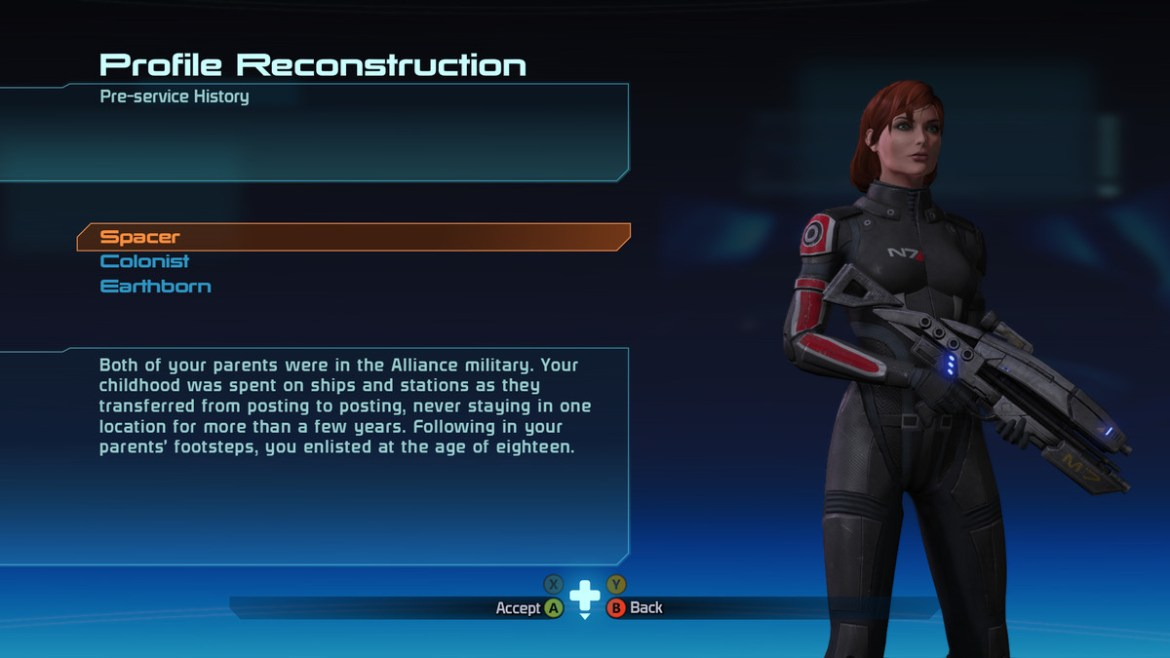 The pre-service history screen in Mass Effect