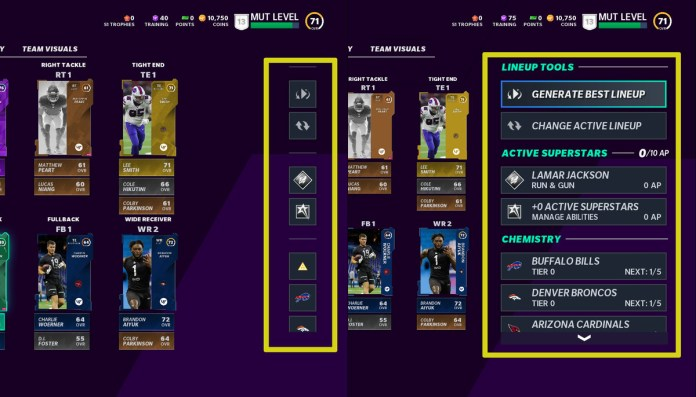 Another poorly designed menu in Madden Ultimate Team. This one isn't as bad, it might have been designed by a six-year-old.