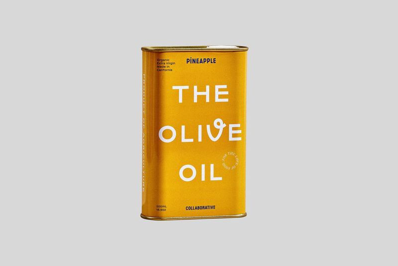 A yellow tin of olive oil