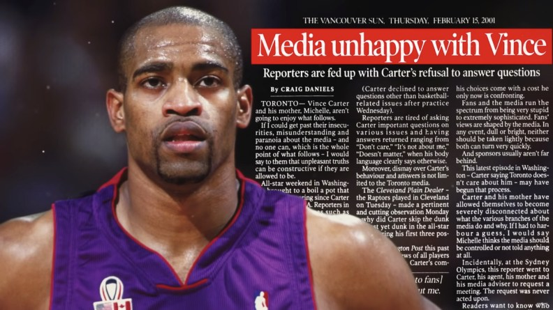 A parallax frame of a Vince Carter picture with newspaper in the background.