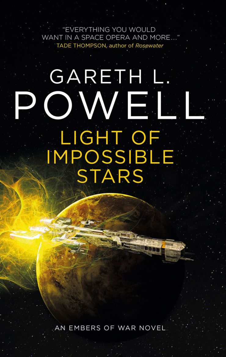 the ship orbits the planet on the cover of Gareth L. Powell's Impact Stars