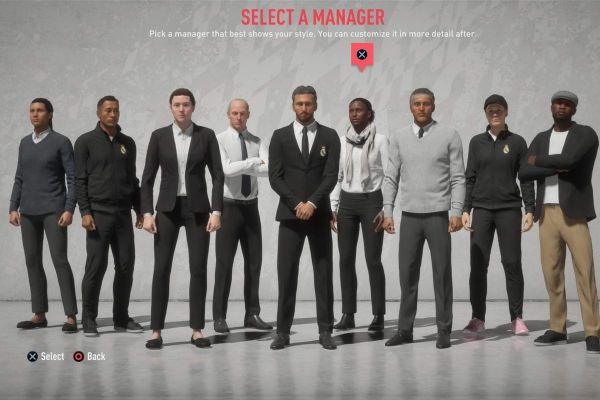 choosing managers in FIFA 20: a long line of mainly men, and one woman, standing looking at the camera
