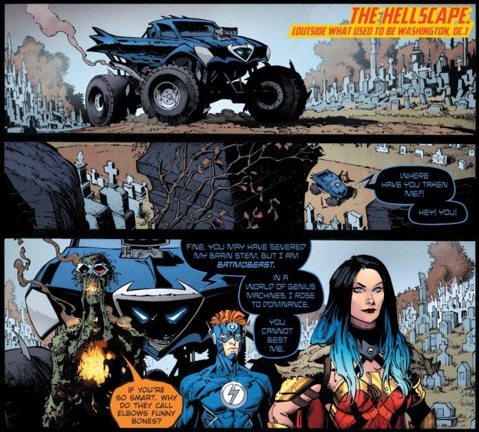 The Batmobeast, a sentient monster truck who is also Batman, explains his stupid backstory as other characters ignore him, in Dark Nights: Death Metal #2, DC Comics (2020).