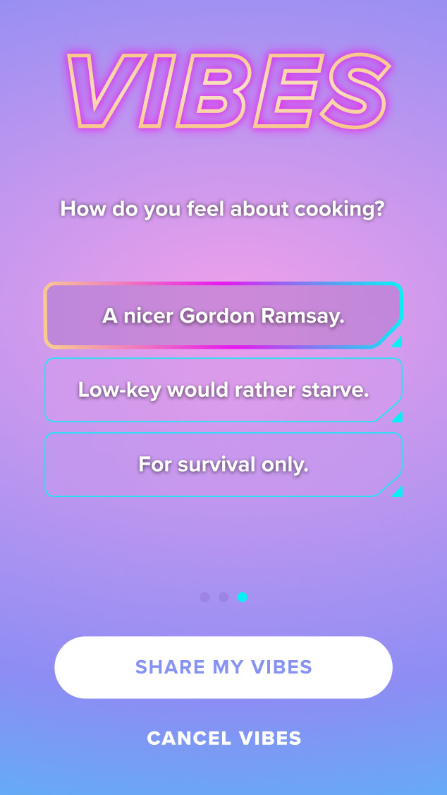 "The question asks ""How do you feel about cooking?"" Answers including three options: ""A nicer Gordon Ramsay,"" ""Low-key would rather starve,"" ""For survival only."""