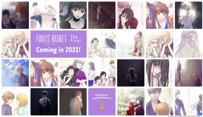 a banner of moments from season 2 of fruits basket