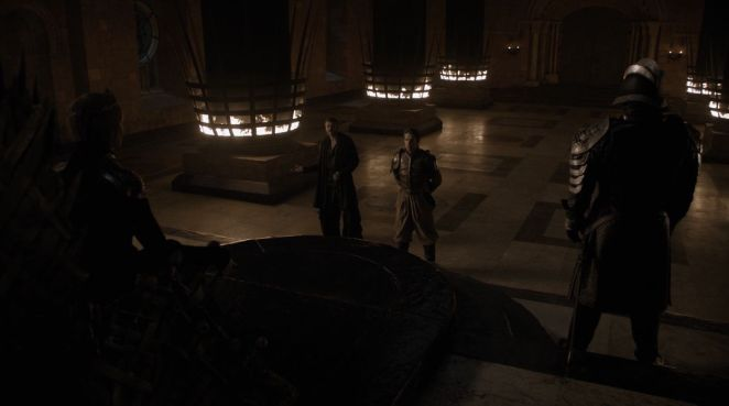 Game of Thrones S08E01 Euron, Cersi, and Captain Harry Strickland at the Iron Throne
