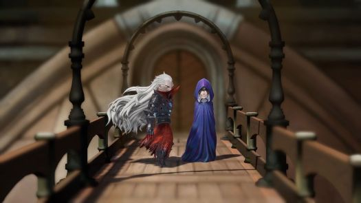 Two characters with dramatic hair and robes talk on a bridge