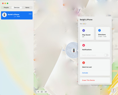 The Find My app lets you locate your phone, send a notification, or erase it. (Note: the map has been blurred for privacy reasons.)
