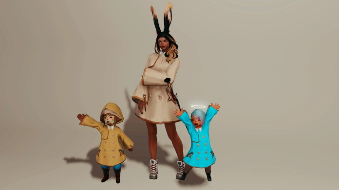 Two Lalafells celebrate, wearing green and blue raincoats. A tall woman with rabbit ears stands in a beige raincoat.