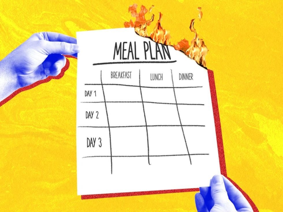 "Illustration of two hands holding a paper on fire that reads ""menu planning."""