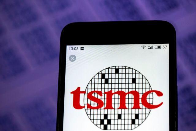 TSMC Semiconductor manufacturing company logo seen displayed