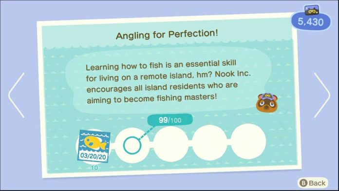 An example of how Animal Crossing shows you the next small step, without detailing the entire journey of an achievement