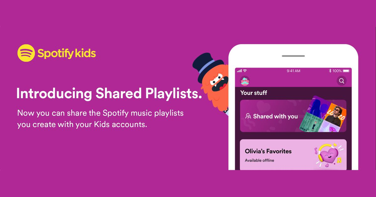 Spotify Kids now supports shared playlists, letting parents control the music