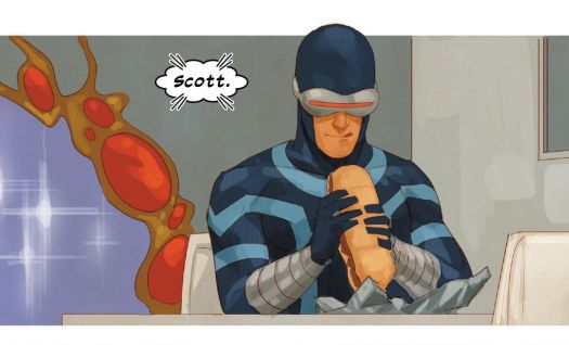 Cyclops licks his lips happily as he unwraps and raises a Philly cheesesteak to his mouth in Cable #2, Marvel Comics (2020).