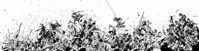 A black and white ink drawing of the battle scene from The Old Guard: Tales Through Time