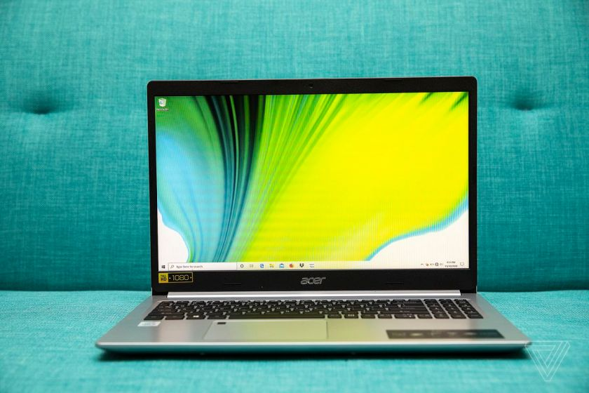 The Acer Aspire 5 open from the front.