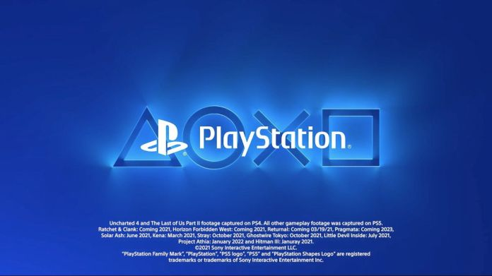 A screenshot of the PlayStation logo and release dates for PS5 games from Sony's CES 2021 keynote video