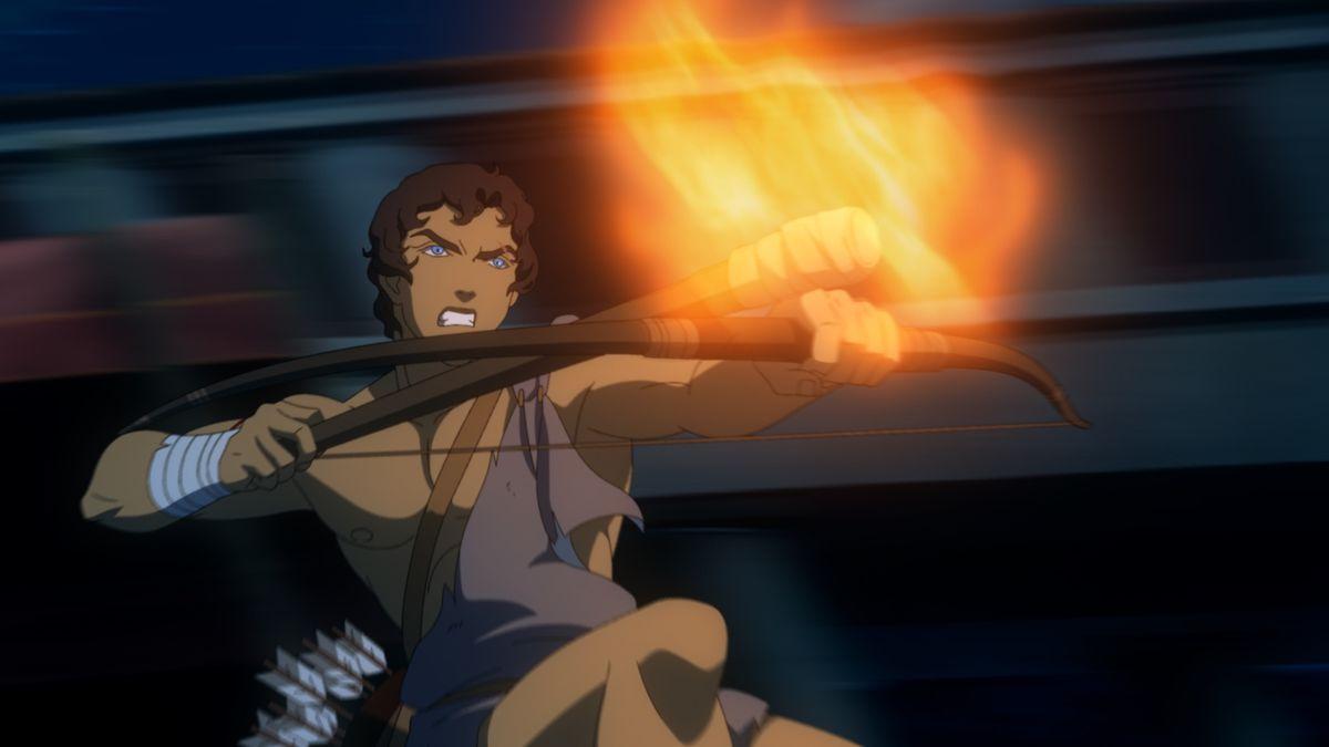 Heron in Blood of Zeus firing a fire arrow