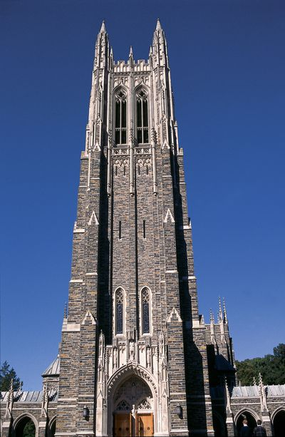 Duke University Chapel built in the 1930s with Hillsborough Bluestone from a local quarry