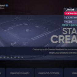To find Stadium Creator's vault of user content, first open the tool from the Create tab on the game's main menu.