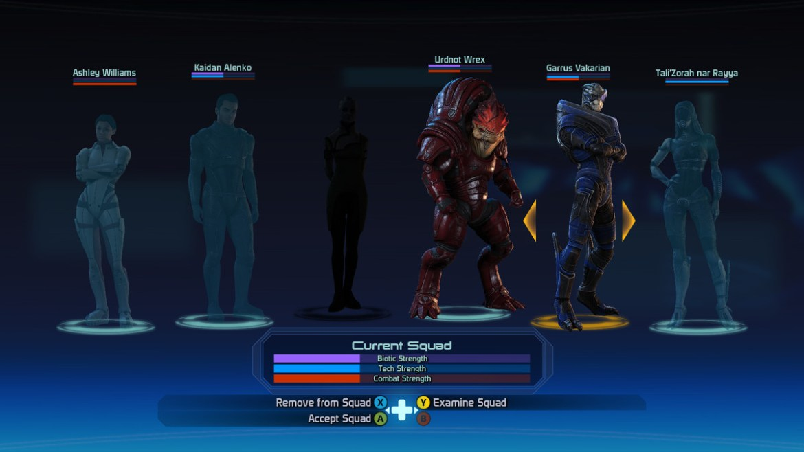 The squad select screen in Mass Effect