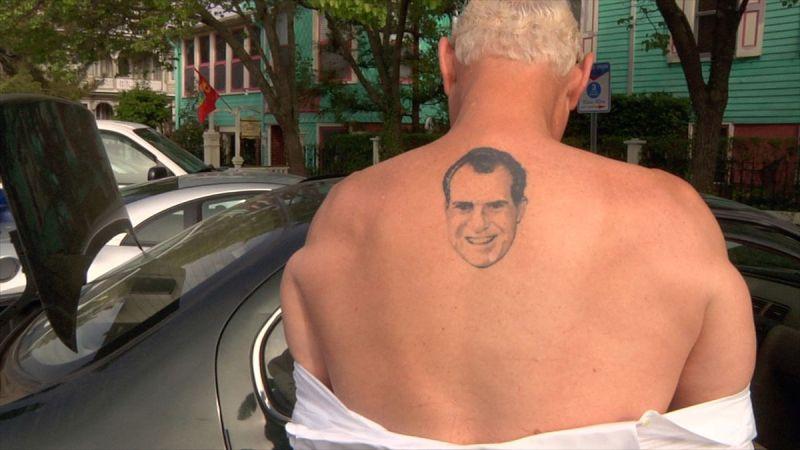 Stone has Nixon tattooed on his back.