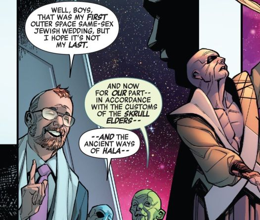 """""""Well, boys,"""" says a Rabbi on a spaceship alongside Kree and Skrull officiants, """"that was my first outer space same-sex Jewish wedding, but I hope it's not my last,"""" in Empyre: Aftermath Avengers, Marvel Comics (2020)."""