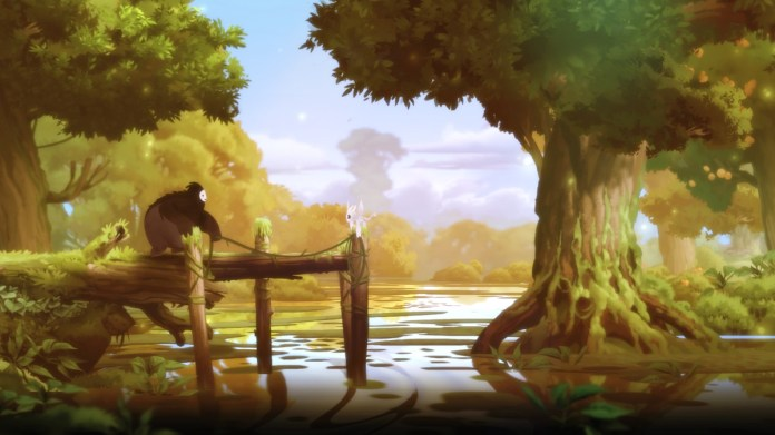 Two spirits, Ori and Sein, stand together on a dock by a body of water in this image of the game Ori and the Blind Forest.