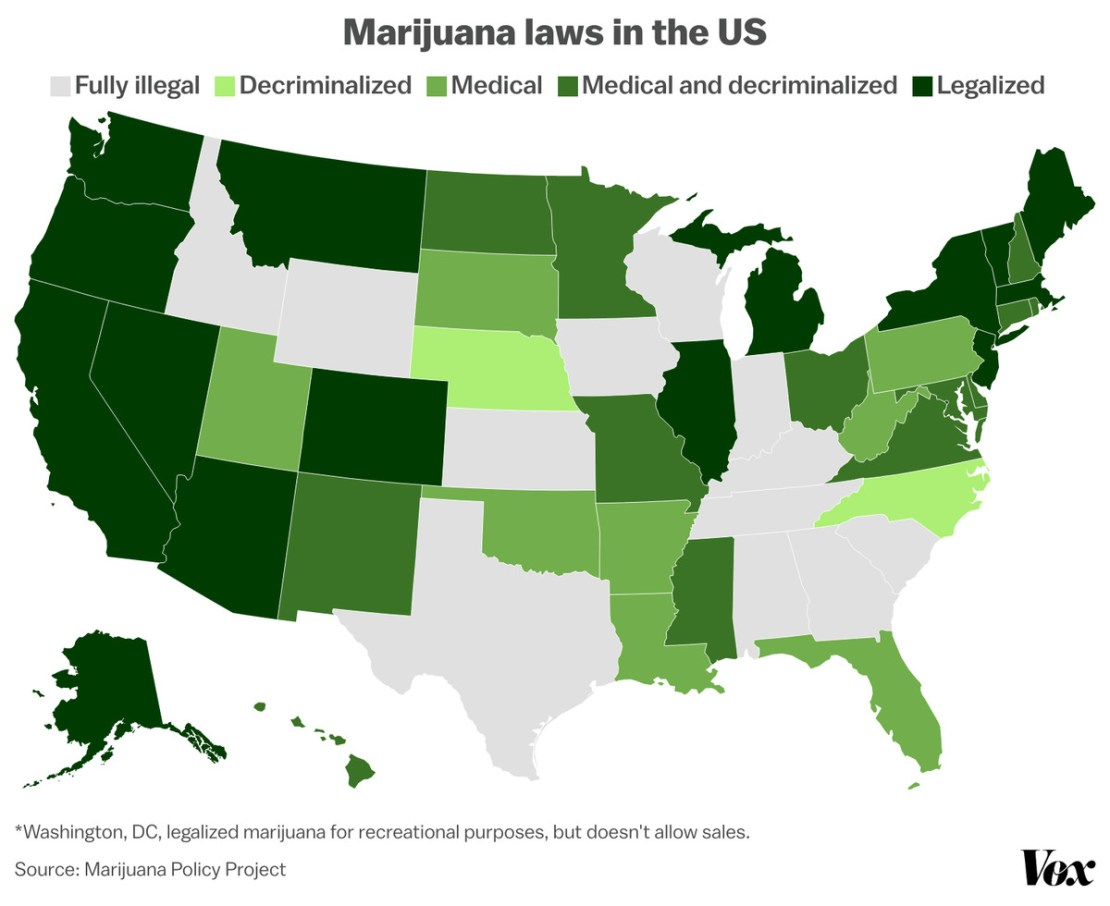 A map of the US's marijuana laws.