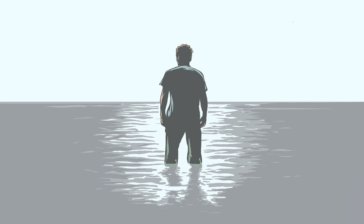 Illustration of a somber man, centered, walking alone out into the water of the Black Sea.