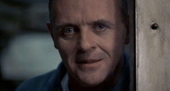 "Anthony Hopkins as ""Hannibal the cannibal"" in The Silence of the Lambs."