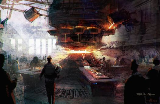 Light pours in from an open ceiling into a smelting area, with patrons standing at long tables to assemble their new droids.