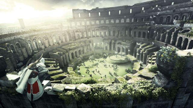 Assassin's Creed: Brotherhood - Ezio perched atop the Colosseum